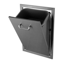 HBI - Hasty-Bake Stainless Steel Tilt-Out Trash Can (TCTO-18X26) - This fully enclosed tilt out trash can comes with a Rubbermaid commercial trash liner. The trash can can also be removed from the front of the frame after installation for ease of cleaning. Features all Stainless (304 grade material) construction and polished chrome handle to match Deluxe doors and Drawer units.   Outside Dimensions: