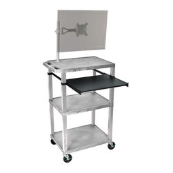 H. Wilson - Tuffy 18 in. Portable Presentation Cart w Nickel Legs in Gray - Includes pullout laptop shelf and three outlet 15 ft. cord. Three shelves. High density polyethylene structural foam injection molded plastic shelves. 1.5 in. nickel legs that will not chip, warp, crack, rust or peel. 4 in. silent roll. Full swivel ball. 4 in. heavy duty casters, two with locking brakes. 0.25 in. safety retaining lip and a raised texture surface to enhance product placement. Ensures minimal sliding. Cord management wrap and three cable management clips. Electrical attachment recessed to insure easy passage through doorways. Shelves and legs are made from recycled material. Made from polyethylene and plastic. Made in USA. Minimal assembly required. Pullout shelf: 19.63 in. L x 15.63 in. W. Shelves: 24 in. L x 18 in. W x 1.5 in. H. Overall: 24 in. L x 18 in. W x 42.5 in. H. Warranty