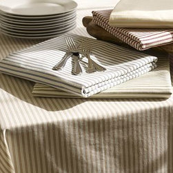 """Vintage Ticking Stripe Tablecloth, 70 x 108"""", Khaki - Simple ticking stripes never fail to impart a clean, classic style. Our tablecloth layers well with other prints or solids, and creates the perfect backdrop to a variety of place settings. 70 x 108"""" Woven of pure cotton. Machine wash. Monogramming is available at an additional charge. Monogram will be placed at one corner of the tablecloth. Catalog / Internet Only. Imported."""