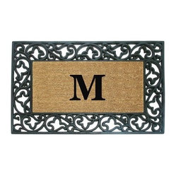 Creative Accents Wrought Iron Rubber Coir Mat Acanthus Border with Monogram