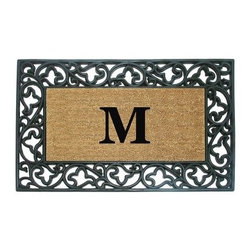 Creative Accents Wrought Iron Rubber Coir Mat Acanthus Border with Monogram - Bordered with a classic acanthus scroll design, the Nedia Enterprises Wrought Iron Rubber Coir Mat Acanthus Border with Monogram includes monogramming to create a beautiful mat welcoming people into your home. Crafted from naturally harvested coir fibers, this mat has a dense pile of fibers that helps to clean shoes and trap dirt and moisture. Tucked within durable, molded rubber with heavy rubber backing, this mat is designed for heavy foot traffic and stays in place. Coir is a renewable resource and the mat is completely biodegradable and compostable. Best used in sheltered areas, such as a covered porch, this mat can cause color transfer to natural stone, concrete, and other surfaces if it's excessively exposed to the elements. Naturally mold- and mildew-resistant, this gorgeous mat will have some slight variations in size, color, and texture, giving each mat its own unique characteristics. It's also normal for the mat to shed fibers during the first few weeks it's used. Additional Features Rubber backing and border keeps mat in place Coir fibers are a renewable resource Mat is biodegradable and compostable Designs are hand stenciled on the mat Made with fade-resistant dyes Best used in sheltered areas Avoid exposure to extreme moisture and sunlight Excessive exposure can cause color transfer Variations in size, color, and texture are normal Mat will shed fibers the first few weeks Clean by occasionally giving a good shake Monogramming is included Can be used indoors or out