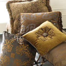"Horchow - Antwerp Pillow - Indulge your love of plush fabrics and lavish embellishments with these Baroque-inspired decorative pillows. USA made. Listed from front to back. Handcrafted of cotton/rayon. Feather/down filling. Dry clean. Sky-gray velvet ""Volant"" pillow features...."