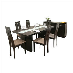 "Wholesale Interiors - Baxton Studio Magness 8 Piece Dining Set - There's no need to be embarrassed by that old or out-of-date dining set anymore! The Magness Contemporary Dining Set is an overachiever in both style and design. Made of sturdy hardwood with veneer, the table, sideboard, and six chairs are finished in a beautiful dark brown wenge color. The table features a striking white tempered glass inlay that reaches the entire length of the table. Each chair has a tall back with T design that mirrors the table's legs. In addition, the chairs have stylish steel inlays as an added contemporary accent and are finished with tan microfiber foam seats. The sideboard offers plentiful storage behind its three doors: 3-position adjustable height shelves allow you to customize your space. The sideboard has fiberboard backing and interior shelving. Features: -Set includes dining table, sideboard and six dining chairs. -Baxton Studio collection. -Dark Brown finish. -Tan microfiber foam seat. -Wood construction. -Contemporary style. -Table top has striking white tempered glass inlay. -T Design Tall back. -Stylish steel inlays. -Plentiful storage behind its three doors of sideboard. -3 Position adjustable height shelves. -Sideboard has fiberboard backing and interior shelving. Dimensions: -Chair dimensions: 40.6"" H x 17.5"" W x 19.7"" D. -Sideboard dimensions: 23.3"" H x 59"" W x 17.7"" D."