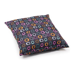 ZUO - Kitten Outdoor Pillow - Large - The Kitten Pillow adds a touch of color to that backyard lounger. Chocolate brown dotted with splayed circles of aqua, pink, and orange. Water resistant, in case your gin and tonic spills. Comes in small or large.