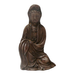 Golden Lotus - Chinese Oriental Jade Stone Carved Sitting Buddha Statue - This is a nicely carved Chinese Kwan Yin figure with decorative motif and off white gray brown jade stone color as an accent.