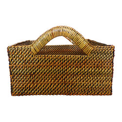 "Calaisio - Medium Square Bread Basket - 8"" Square x 3.75"" This hand woven basket is created from a water vine that only grows in the mountainous areas of the South Pacific. Once reaped it grows back quickly, leaving no damage in these ecologically sensitive forests. Each piece has a card attached, signed by the artisan that created it. It also lists the time it took for he or she to weave."