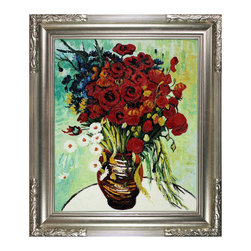 "overstockArt.com - Van Gogh - Vase with Daisies and Poppies Oil Painting - 20"" X 24"" Oil Painting On Canvas Vase with Daisies and Poppies was painted during the summer and fall months in Paris during 1886. Very typical of his post-Impressionist work at this time, this floral painting features a gorgeous colorful display of vibrantly red poppies and white daisies coupled with blue flowers and greenery in a brown vase. Even though he painted a variety of cheerful subjects, his mental state was oftentimes troubled and desperate. Our artists have recreated this beautiful Van Gogh piece by hand so you can enjoy it in your own home. Display it in your own house to brighten up any room. Choose from our museum-quality frames that accentuate the painting and turn it from a painting into a gallery-worthy piece."