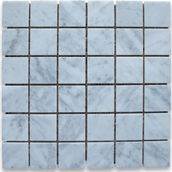 """Stone Center Corp - Carrara Marble Square Mosaic Tile 2x2 Polished - Carrara white marble 2"""" x 2"""" square pieces mounted on 12"""" x 12"""" sturdy mesh tile sheet"""