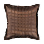 """Surya - Sleek Metallic Square Pillow AR-007 - 22"""" x 22"""" - Add a touch of class to your space with the sleek metallic design of this pillow. Answering all your pillow needs, the smooth brown coloring of this pillow offers a chic, yet muted elegance that is still sure to spice up any space. This pillow contains a zipper closure and provides a reliable and affordable solution to updating your home's decor."""