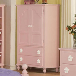 Acme Furniture - Floresville Pink White Flower Cabinet Door Drawer Pulls TV Armo - Floresville Collection Chest