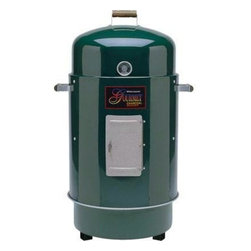 Brinkmann - Brinkmann Charcoal Smoker And Grill Green - Deluxe Dual Level Gourmet charcoal smoker and grill with heat indicator.  Chrome plated steel cooking grids.  Space for 50 pounds of food, stay cool wooden handles, rolled edges for strength.