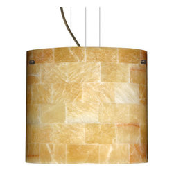 Besa Lighting - Besa Lighting 1KG-4184MX Tamburo 1 Light Cable-Hung Pendant - Tamburo is a classic open-ended cylinder of handcrafted glass, a shape that will stand the test of time. Our Mosaic Onyx glass uses a pattern of fitted natural Onyx tiles, weaved together in a tapestry of light and dark earth-tones. This design is hand-carved from stone and is highly textured. Each stone tile in this decor has its own artistic nature that can be individually appreciated. When lit this gives off a light that is functional and soothing. The cable pendant fixture is equipped with three (3) 10' silver aircraft cables and 10' AWM cordset, and a low profile flat monopoint canopy.Features: