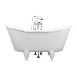 "The Tub Studio - Contarini 67"" White Acrylic Double Slipper Clawfoot Tub Package w/ Da Vinci Feet - Product Details"
