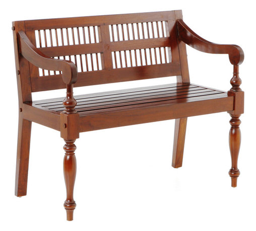 Holly & Martin - Cheyenne Classic Bench, Mahogany - Spice up your entryway, dining or bedroom with this beautifully crafted mahogany bench. Styled with ornate spindle front legs, a slat style seat, and inlayed dowel backrest, you are sure to want one it every room! The hardwood mahogany construction is paired with a rich mahogany finish for a truly classic piece that is sure to become a family heirloom. Treat yourself with an inspirational seat for two!