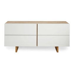 MASH Studios - LAX LB Dresser - MASH Studios - Conceal your wardrobe in this beautifully crafted 4-drawer dresser. Aluminum-wrapped solid wood drawer fronts with side finger pulls and an undermounted door slide, give this piece a clean minimalist approach.