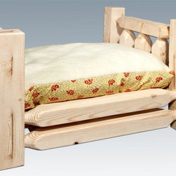 Montana Woodworks - Pet Bed with Mattress - Hand crafted. Sawn square timbers and trim pieces for rustic timber frame design. Heirloom quality. Solid lodge pole pine. Made from U.S. solid grown wood. Lacquered finish. Made in U.S.A.. Assembly required. Mattress: 24 in. L x 16 in. H. Overall: 26 in. L x 21 in. W x 17 in. H (26 lbs.). Warranty. Use and Care InstructionsFrom Montana Woodworks, the largest manufacturer of handcrafted quality log furnishings in America comes the all new Homestead Collection line of furniture products. Montana Woodworks incredibly popular pet bed allows your pet to snuggle into a luxurious, fleece lined mattress for a comfortable healthy rest. Each piece signed by the artisan who makes it.
