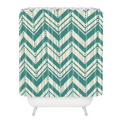 DENY Designs - Heather Dutton Weathered Chevron Shower Curtain - A retro blue-green chevron design on a weathered, natural background gives this shower curtain the vintage charm of an old, scratchy record. The zigzag pattern also coordinates perfectly with the accordion effect of opening and closing the shower curtain, so this curtain looks great whether scrunched or spread out.