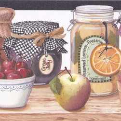 York Wallcoverings - Black White Fruit Jam Jars Wallpaper Border - Wallpaper borders bring color, character and detail to a room with exciting new look for your walls - easier and quicker than ever.