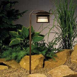 LANDSCAPE - LANDSCAPE 15391OZ Zen Garden Path Light - The Zen Garden Collection expresses this balance in its minimalist designs combined with bold presentation. This style is updated Asian with a touch of the exotic. Crafted with a natural, earth-tone finish that patinas over time, the Zen Garden collection harmonizes with any backyard design to create a tranquil sanctuary. The durable construction and premium materials ensure years of peaceful enjoyment.Path lighting with Far Eastern style and amber glass offers soft light with good spread for illuminating paths and walkways.