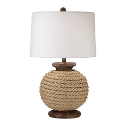 "Lamps Plus - Coastal Monterey Table Lamp - Light up any casual room with this table lamp. The round base is constructed with real rope for a nautical beachy look. Reminiscent of marine sail fabric the round white canvas shade completes the look.  Natural finish. Real rope base. Round white canvas shade. Maximum 150 watt or equivalent bulb (not included). 28"" high. 17"" wide. Shade is 16"" across the top 17"" across the bottom 11"" high.  Natural finish.  Real rope base.  Round white canvas shade.  Maximum 150 watt or equivalent bulb (not included).  28"" high.  17"" wide.  Shade is 16"" across the top 17"" across the bottom 11"" high."