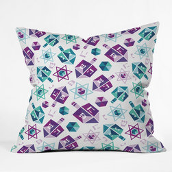 DENY Designs - DENY Designs Zoe Wodarz Dreidel Facets Throw Pillow - Wanna transform a serious room into a fun, inviting space? Looking to complete a room full of solids with a unique print? Need to add a pop of color to your dull, lackluster space? Accomplish all of the above with one simple, yet powerful home accessory we like to call the DENY Throw Pillow! Available in four sizes, our throw pillow is made from a medium weight woven polyester with a hidden zipper and removable bun insert.