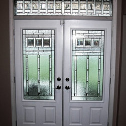 Bowie Entryway - Traditional Leaded  Beveled  Stained glass privacy glass entryway privacy glass doors and transom