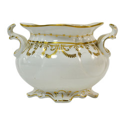 None visible - Consigned White Sugar Bowl with Gilding, Antique English Victorian, 19th Century - Classical porcelain sugar bowl with handles, moulded and gilded decoration; antique English Victorian, 19th century.