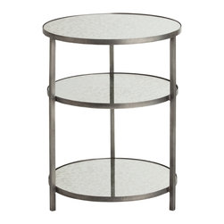Kathy Kuo Home - Percy Round Three Tiered Contemporary Mirrored Zinc End Table - Every contemporary living room can always use more style and more storage, which is what this tiered end table provides, all at once. Three round mirrored shelves rise from the clean lines of an iron scaffold, finished in a matte zinc. Place next to your leather armchair for a gorgeous contrast.