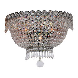 Worldwide Lighting - Empire 3 light Chrome Finish with Clear Crystal Wall Sconce - This stunning 3-light wall sconce only uses the best quality material and workmanship ensuring a beautiful heirloom quality piece. Featuring a radiant chrome finish and finely cut premium grade crystals with a lead content of 30%, this elegant wall sconce will give any room sparkle and glamour.