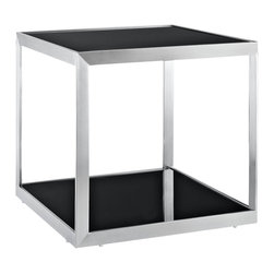 Modway - Side Table in Black - Creativity abounds contemporaneously with this naturally inspired side table. To call Open Box an accent piece, wouldn't do full justice to the concept at play. At first glance, the tempered glass top, and polished stainless steel frame, looks like any other side table on the market. But the uniformity suggests something altogether different. Everything about this piece indicates that it should be closed, but ostensibly this is not the case. Like its deliberately squared outer body, the best innovations also come when we feel ourselves within the box, but still remarkably still find a way to break through.