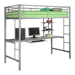 Walker Edison - Walker Edison Sunrise Metal Twin/Workstation Bunk Bed - Silver X-LSZOTB - This simple, yet contemporary twin-over-workstation bunk bed conveys chic style with clean lines and finish. A sturdy, steel-crafted frame with powder coated finish promises stability and function. Designed with safety in mind, this bed includes full length guardrails and integrated ladders. This bed is ideal for space-saving needs with a full work table top, pull-out keyboard tray and shelving for additional storage constructed of high-grade MDF.Features:&#8226: Stylish, contemporary design&#8226: Bunk supports 250 lbs.&#8226: Attractive powder-coated finish&#8226: Desk top and shelves made with high-grade MDF&#8226: Spacious work area with keyboard tray and shelving&#8226: Conforms to the latest consumer product safety standards&#8226: Ideal for space-saving needs&#8226: Support slats included, no box spring needed&#8226: Maximum recommended upper mattress thickness of 9 in.&#8226: Does NOT include mattresses or bedding&#8226: Ships ready-to-assemble with necessary hardware and tools&#8226: Assembly instructions included with toll-free number and online support