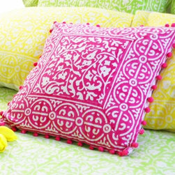 Decorative Pillow Cover - Pink Floral - Pretty in pink! I love the color pink and definitely feel that it can fit into a modern and cool space. I suggest finding an accent — like this embroidered pillow — in a well-designed style. I love this pattern and think it works with the pink hue.