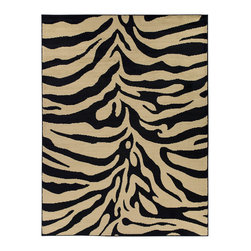 "None - Zebra Animal Print Area Rug (5'3""x7'0"") - Add a spark of the outdoors to the interior of your home with this zebra print area rug. This black and beige rug is sure to grab a great deal of attention and would be a wonderful addition to any room."