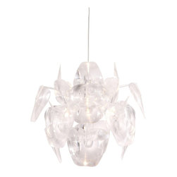 Zuo - Zuo Gamma Ceiling Lamp, Translucent - The Gamma ceiling lamp has holographic blades of translucent plastic encompassing a chrome body. It is UL approved. The height is fully adjustable.PVC, Chrome. E26 Type A 1x max.60W. UL LISTED, BULB NOT INCLUDED.Max Bulb Wattage: 60WBulbs Included: 0Cord Length: 55.1Product Dimensions (W x D x H): 24 x 24 x 21.7