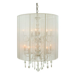 Creative Creations - Rovello Silver 10 Light Crystal Pendant with White Shade - - European elegance with a modern contemporary flair.  This white silk thread 10 light pendant will make a statement in any room.   - Chain length is 3 ft. Creative Creations - RO:1310/5+5 White