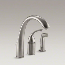 "KOHLER Fort(R) 3-hole remote valve kitchen sink faucet with 9"" spout with matchi"