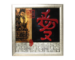 "n/a - 13.5 ""H. Chinese Painting of Buddha and Calligraphy in Rich Lacquer. - Unique Oriental Hand-painted Collage is black lacquer with silver leaf burnished frame, with Buddha and lucky red Chinese calligraphy motif. This modern wall decoration has Asian appeal with classic Chinese symbolism. We suggest a finish nail to hang, as it is light and it comes with hanger. This art piece measures 13.5 inches by 13.5 inches high. and needs no polish just a simple dusting for years of enjoyment. Perfect for a small space on a wall, its lacquer finish is water resistant so don't be afraid to use this in a bathroom."