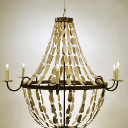 May River Empire Chandelier - Bring a piece of the Low Country to your home with this stunning shell chandelier. The strings of translucent oyster shells are simply stunning, raisin a typical ring chandelier from ho-hum to spectacular.