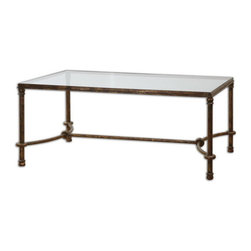 Uttermost - Uttermost 24333  Warring Iron Coffee Table - Inspired by ancient horse bridles, this forged iron coffee table is a blending of rings and curves finished in rustic bronze patina. the top is made of clear, tempered glass.