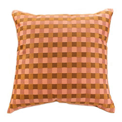 """Decorative Pillow Covers - Indian design """"Modern Squares"""" Pillow Cover (Set of 2). Chocopink color. Exclusive from Banarsi Designs Collection."""