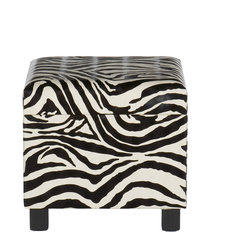 Holly & Martin - Safari Storage Ottoman, Zebra - Add some flare to your home with this glamorous leopard print foot stool. Perfect everywhere from living room to kid's room, the added storage and decorative accent are sure to make an impression. Complete with an emulated fur texture, this faux leather foot stool has a lid that lifts to reveal a spacious storage compartment for throw pillows, blankets or toys. The anti-slam hinge will add peace of mind with small children around. Add some character to your home today!