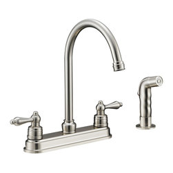 Designers Impressions - Designers Impressions 610071 Satin Nickel Kitchen Faucet w/ Sprayer - Hi-Rise Goose Neck Swiveling Spout