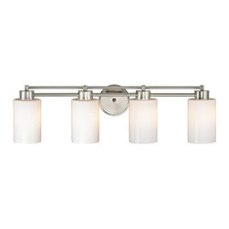 Design Classics Lighting - Modern Bathroom Light with White Glass in Satin Nickel Finish - 704-09 GL1024C - Contemporary / modern satin nickel 4-light bathroom light. A socket ring may be required if installed facing down. Takes (4) 100-watt incandescent A19 bulb(s). Bulb(s) sold separately. UL listed. Damp location rated.