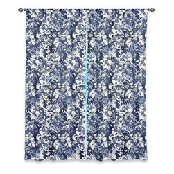 """DiaNoche Designs - Window Curtains Unlined by Julia Grifol - Blue Butterflies - DiaNoche Designs works with artists from around the world to print their stunning works to many unique home decor items.  Purchasing window curtains just got easier and better! Create a designer look to any of your living spaces with our decorative and unique """"Unlined Window Curtains."""" Perfect for the living room, dining room or bedroom, these artistic curtains are an easy and inexpensive way to add color and style when decorating your home.  The art is printed to a polyester fabric that softly filters outside light and creates a privacy barrier.  Watch the art brighten in the sunlight!  Each package includes two easy-to-hang, 3 inch diameter pole-pocket curtain panels.  The width listed is the total measurement of the two panels.  Curtain rod sold separately. Easy care, machine wash cold, tumble dry low, iron low if needed.  Printed in the USA."""