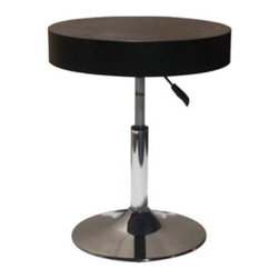 Mia Side Table - The Mia Side Table has an adjustable top making it perfect for any setting. This side table features a polished chrome disk base with easy to use lever that adjust the top up to 26 inches high. The thick top is made of wood veneer in a contemporary black finish. About Whiteline:With a product line that includes prime leather sofas, comfortable beds, and elegant dining room furniture, Whiteline delivers modern and contemporary styles along with cozy comfort. Whiteline has 15 years of experience building furniture, along with a worldwide network of skilled manufacturers to help them give you the best value for your money. And their huge collection of designs is sure to have something to suit your contemporary tastes.