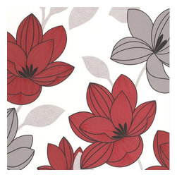 Graham & Brown - Superflora Red Wallpaper - Bold and beautiful, this striking floral looks great in both neutral tones and vibrant berry colours. Designed to sit with the Chambray plain.