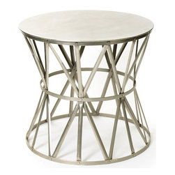 Angle Table - Make your living room modish with this contemporary designed needle table from country chic furniture collection. The round steel table top has a polished nickel finish, and well-cut edges. This well-designed table is excellent for an informal setting.