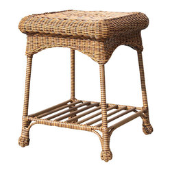 """Jeco - Outdoor Honey Wicker Patio End Table - """"The Outdoor Wicker End Table is a nice complementary piece for your patio set, and it's also a nice accent piece indoors. This end table looks great with our outdoor wicker chairs and loveseats. Although it displays the classic beauty of natural wicker, the table is actually hand woven, all-weather resin wicker with a sturdy steel frame. You can leave this piece out year round and it won't deteriorate. A wonderful addition to any patio grouping."""