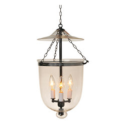"""Clear Hundi Glass Bell Jar Lantern 12""""D, Antique Brass - Clear Hundi Glass Bell Jar Lantern 12"""" Diameter, Approximate 26"""" Height (Jar Height 15.5"""") with 4 lights. Comes in 3 Finishes- Antique Brass, Antique Bronze, Nickel Silver. Each Bell Jar comes with glass lid, electrification kit, and 3 feet of chain and corresponding canopy."""