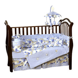 Sweet Jojo Designs - Camouflage Bedding - Blue 9 Piece Crib Bedding Set - The Camouflage Bedding - Blue Crib Bedding Set is just one of the crib bedding sets we offer from Sweet Jojo Designs. The 9-Piece baby bedding set includes a crib blanket, fitted crib sheet, crib bumper pads, crib skirt (dust ruffle), diaper stacker, toy bag, decorative pillow, and two window valances. This baby boy crib bedding set will make any boy's room feel special!